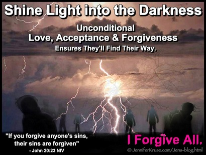 Shine Light into the Darkness. John 20:23. I Forgive All, please find your way soon. - Questions & Insights for