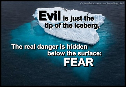 Evil is just the tip of the iceberg, the real danger is hidden below the surface: FEAR. Questions & Insights for